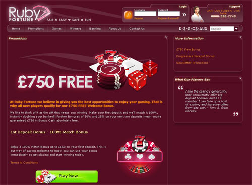 Ruby Fortune Casino - Up to NZ$750 for New Kiwi Players